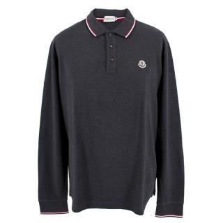 Moncler Men's Dark Grey Long Sleeve Polo