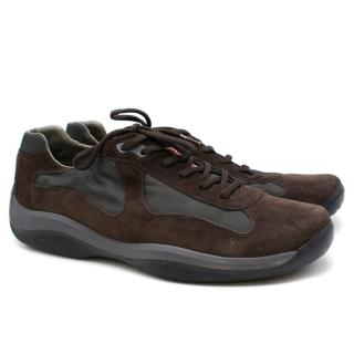 Prada Men's Brown Suede America's Cup Sneakers