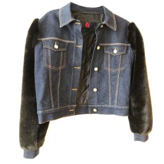 Sonia Rykiel Denim Faux Fur Sleeve Jacket