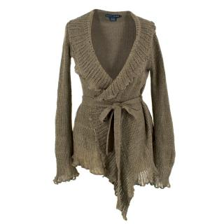 Ralph Lauren Olive Green Wrap Knit Cardigan