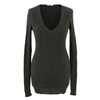 Prada Dark Grey Ribbed Cashmere Sweater