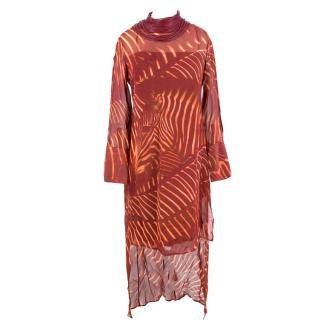 A-K-R-I-S Zebra Print Masai Collar Mangosteen Silk Dress