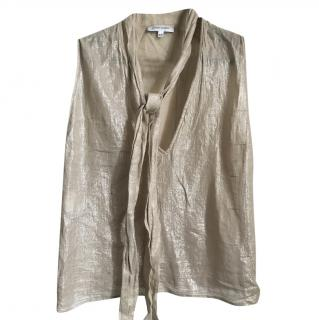 Costume National Gold Lame Blouse