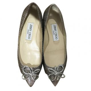 Jimmy Choo Glitter Bow Embellished Ballet Flats
