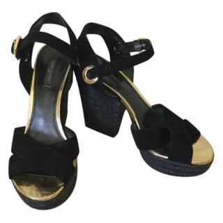 Louis Vuitton Black Suede Sandals