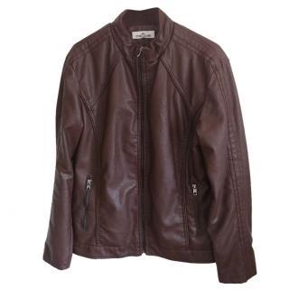 Stone Island Brown Leather Biker Jacket