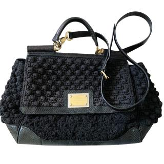 Dolce Gabbana Large Miss Sicily python/knit handbag