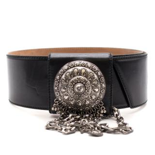 Alexander McQueen Black Wide Charm Belt