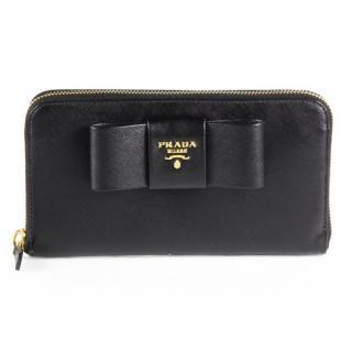 Prada Black Saffiano Leather Bow Zip-around Wallet