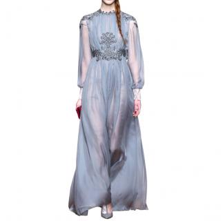 Valentino Blue Gray Silk Runway Gown