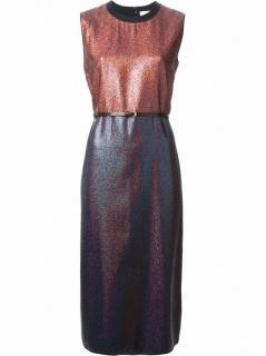 Victoria, Victoria Beckham Metallic Two-Tone Dress