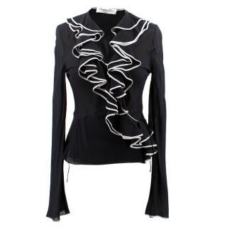 Christian Dior Boutique Silk Frill Wrap Blouse