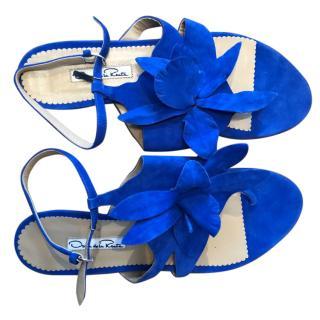 Oscar de la Renta Suede Floral Sandals