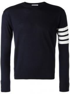 Thom Browne 4-Bar Stripe Navy Merino Crewneck Pullover