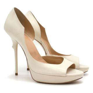 Roger Vivier White Peep-Toe Pumps