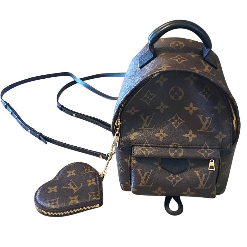 c88996af7752 Louis Vuitton Palm Springs Mini Monogram Backpack Heart Coin Purse ...