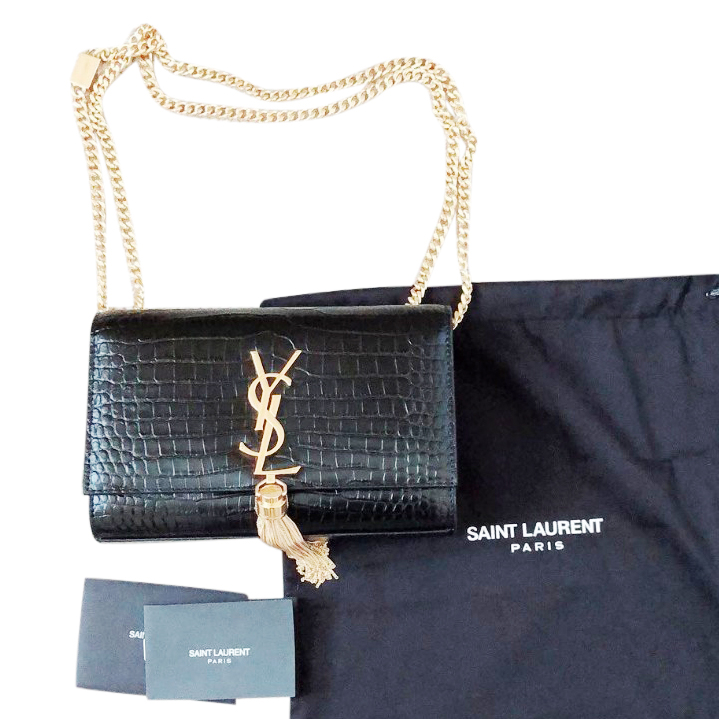 Saint Laurent kate tassel chain bag in crocodile embossed leather