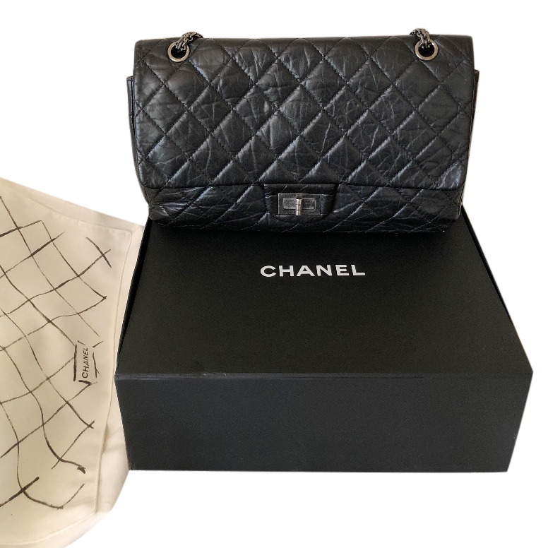 Chanel black leather re issue shoulder  bag