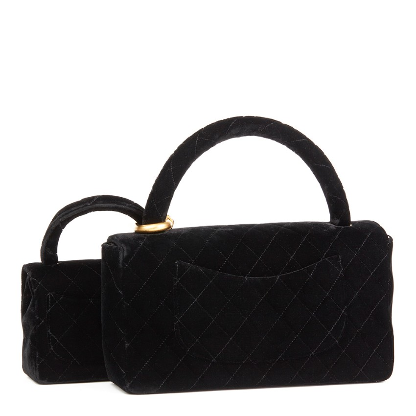 aa1539b0b1f2 Chanel Quilted Black Velvet Medium Kelly Flap Bag Mini Charm Set. 22.  12345678910