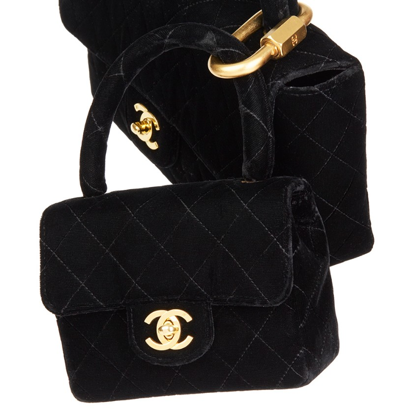 db533961 Chanel Quilted Black Velvet Medium Kelly Flap Bag Mini Charm Set