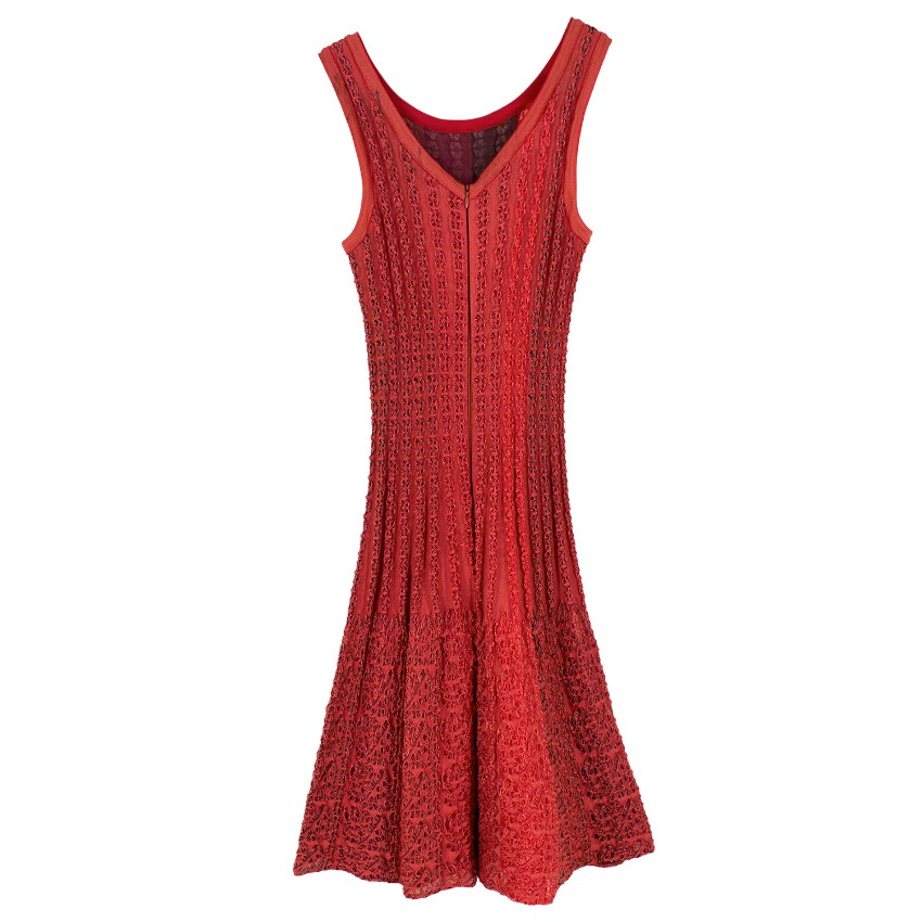 ade78d9f82c Alaia Red Motif Knit Dress. 42. 12345678910
