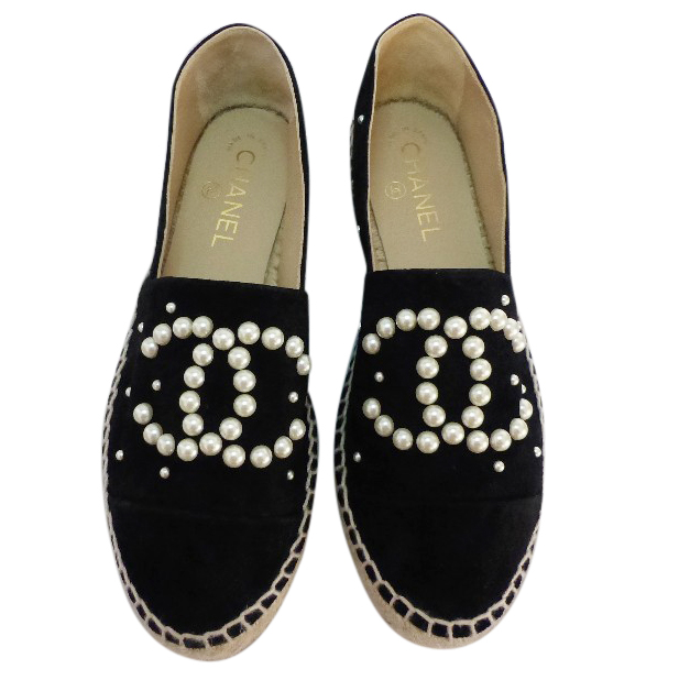 a71246b83 Chanel Black Suede Pearl Espadrilles | HEWI London