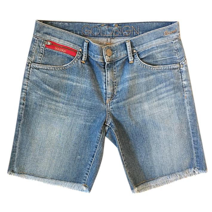 GOLDSIGN 'Sweet' pale blue denim Bermuda frayed hem shorts