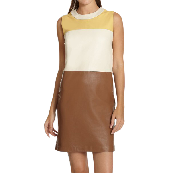 Raoul colorblock leather dress