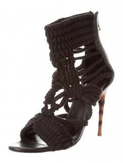 Balmain Crocheted Zip-Up Sandals