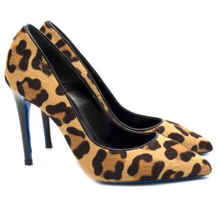 Loriblu Leopard Pony Hair Heeled Pumps