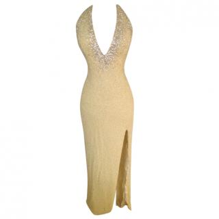 Escada Couture Vintage Embellished Backless Gown