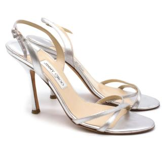 Jimmy Choo Silver Jasmin Heeled Sandals