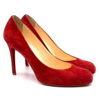 Christian Louboutin red suede round toe pumps