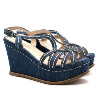 Prada Denim Heeled Wedges