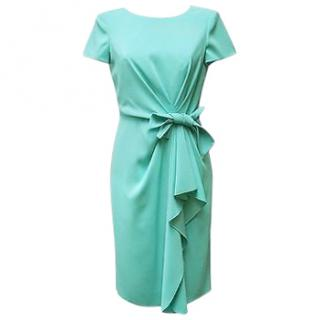 Paule Ka bow crepe turquoise dress