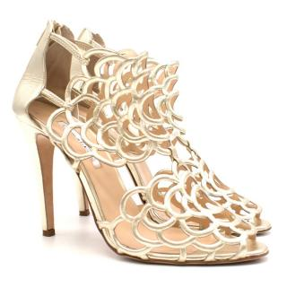 Oscar de la Renta Gold Caged Booties
