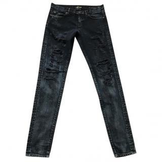 Saint Laurent black distressed denim jeans
