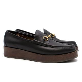 Gucci Black Leather Horsebit Flatform Loafers