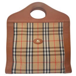 Burberrys Tan and Brown Check Tartan Punch top handle Bag