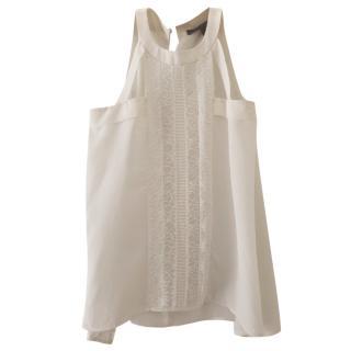 BCBG Max Azria White Sleeveless Blouse