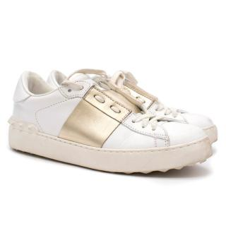 Valentino Open Leather Gold Sneakers