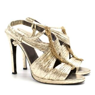 Roberto Cavalli Gold Snake Heeled Sandals