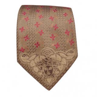 Versace grey and pink tie