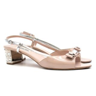 Miu Miu Crystal Block Heeled Sling-back Sandals