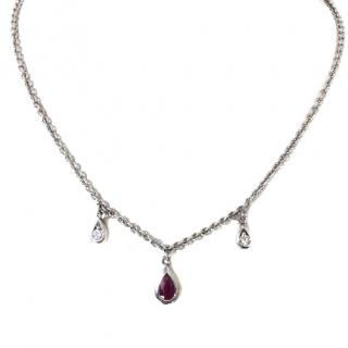 Bespoke Ruby and Diamond 18k White Gold Necklace