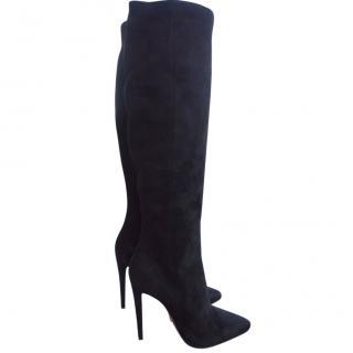 Prada Black Suede Leather Heels Boots