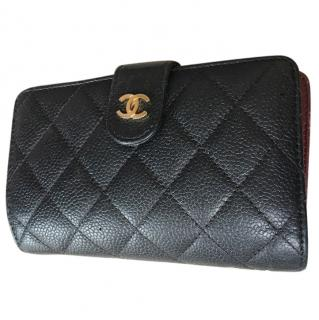 Chanel caviar leather small flap wallet black