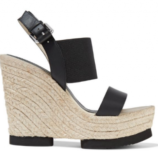 Paloma Barcelo Palomitas black leather & strech knit wedge sandals