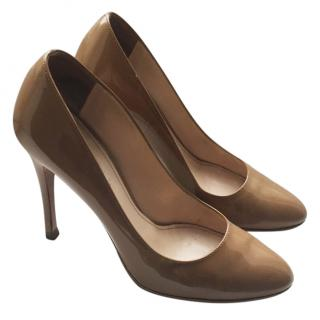 Prada nude patent leather heels