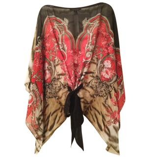 Roberto Cavalli red floral /animal print kaftan
